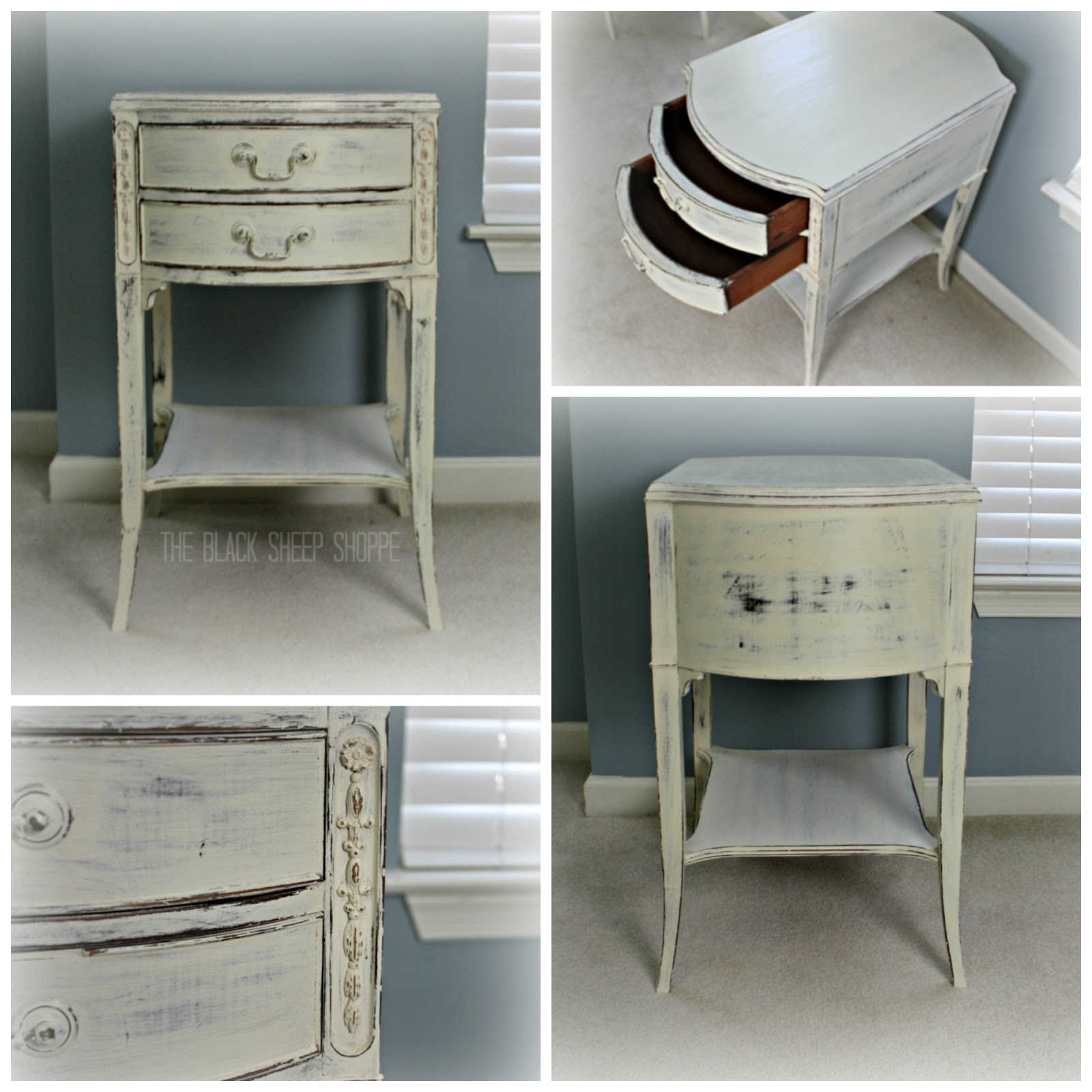 Shabby chic Duncan Phyfe style nightstand with two drawers