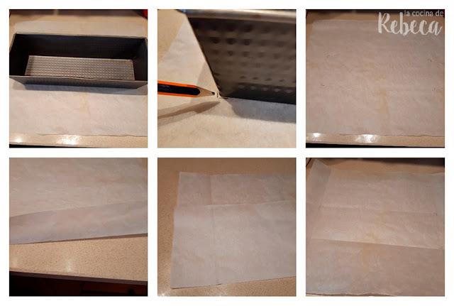 Cómo encamisar un molde rectangular para bizcocho 01