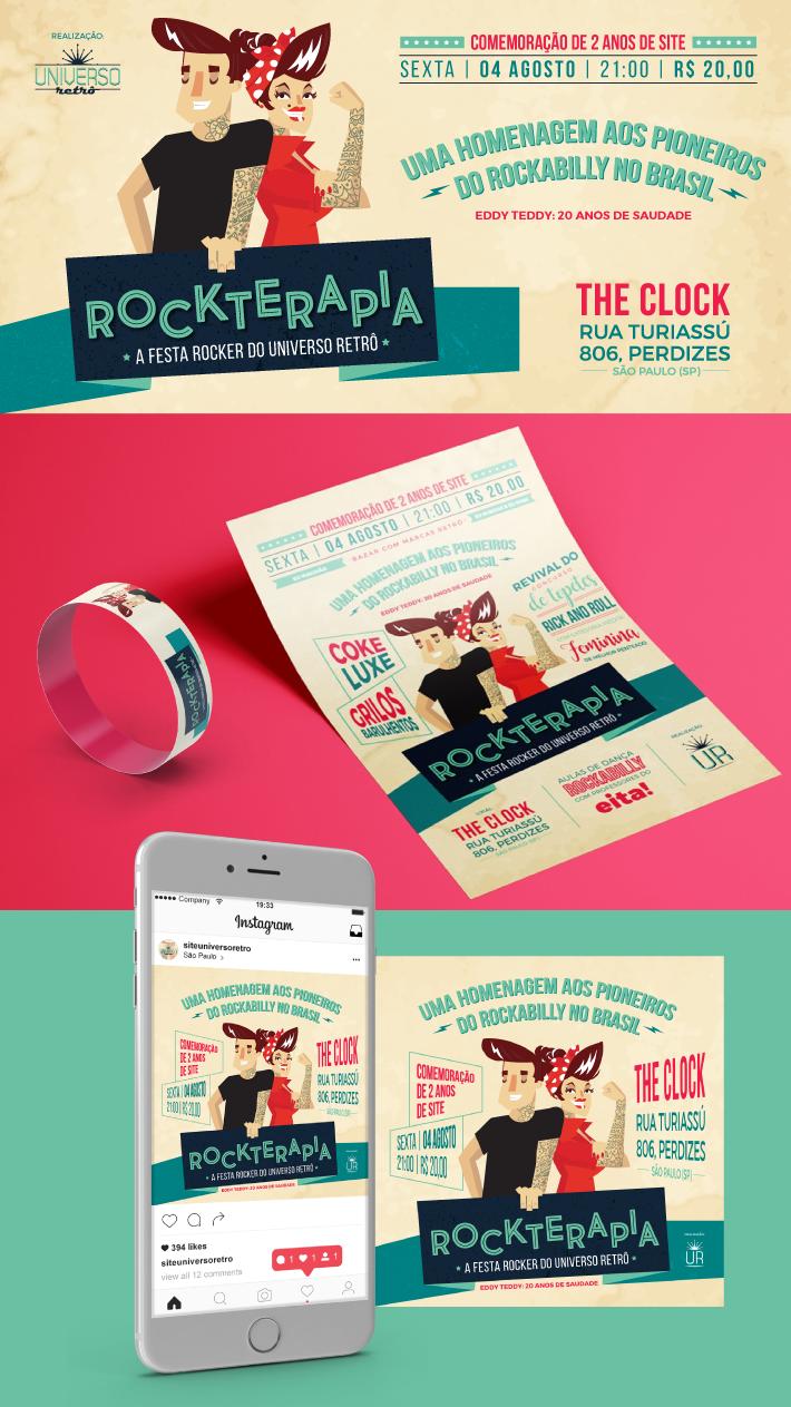Rockterapia, Evento retrô, design de eventos, criação de flyer, criação de cartaz, design de cartaz, design de flyer, designer de eventos, universo retrô, arte retrô, design retrô, retro, identidade visual para eventos, marca de eventos