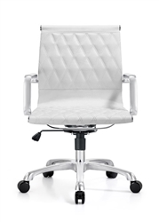 White Leather Mid Century Modern Office Chair
