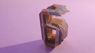 ORIGAMI MONEY 3d origami number 6 tutorials (Jo Nakashima) cách gấp số 6 bằng tiền giấy