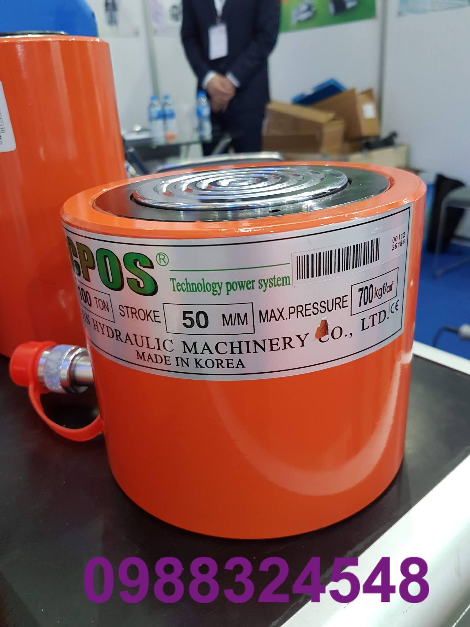 Kích thủy lực Tecpos 100 tấn TS-10050, hành trình 50mm