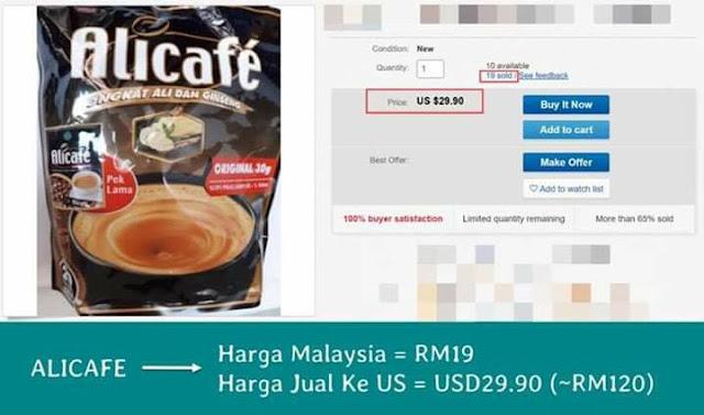 Perbandingan harga AliCafe di pasaran Malaysia dan dijual dalam pasaran ebay