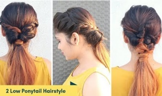 2 Quick & Easy Low Ponytail Hairstyle For Medium To Long Hair