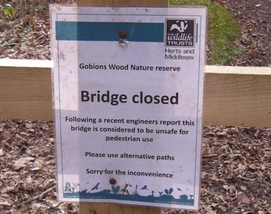 Photograph of Gobions Bridge closed at time of writing (2019) Image by Peter Miller