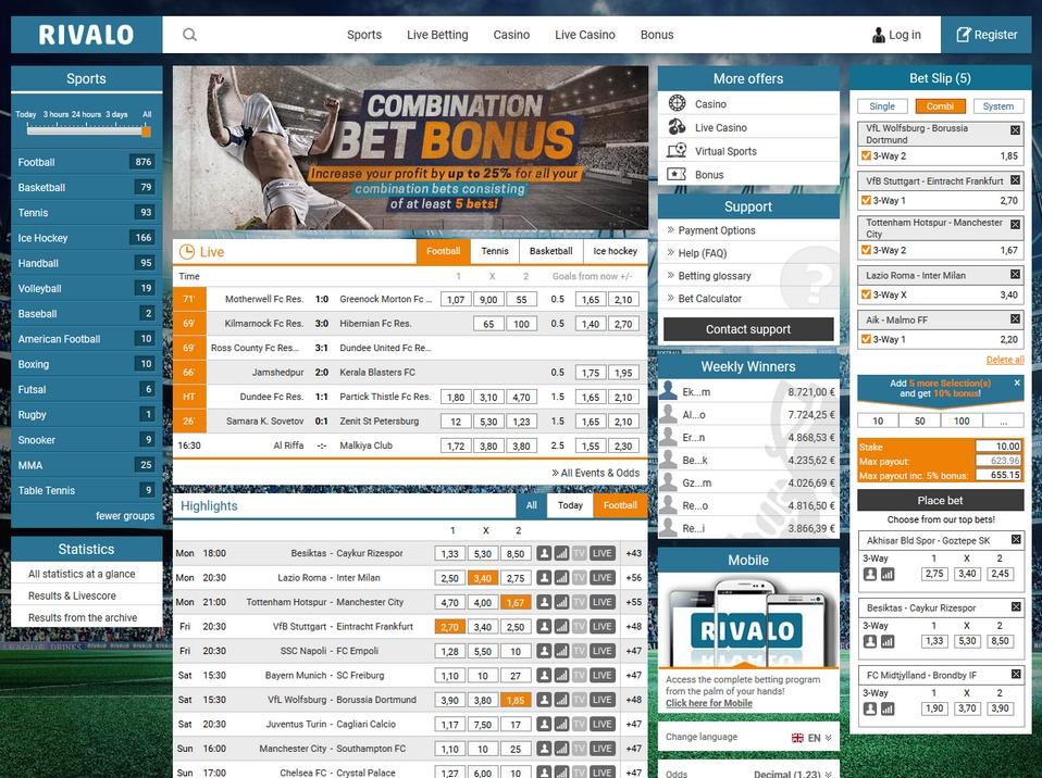 Rivalo live betting sports irish coursing derby betting slips
