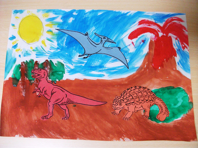 Dinosaur scene painting craft preschool education for kids for Dinosaur crafts for toddlers