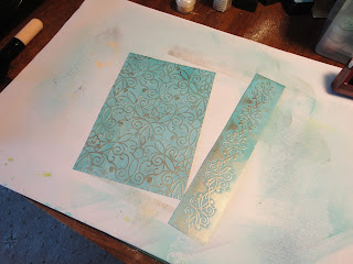 Blue and gold embossed card sections
