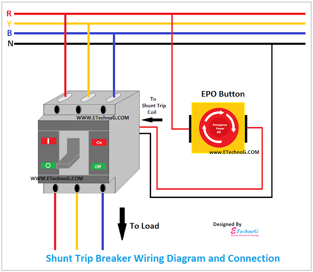 Shunt Trip Breaker Wiring Diagram and Connection with Emergency Power Off(EPO) Switch