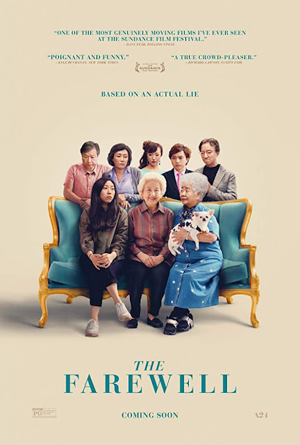 Movie poster for A24's 2019 drama The Farewell, starring Awkwafina, Tzi Ma, Diana Lin, and Shuzhen Zhao, directed by Lulu Wang