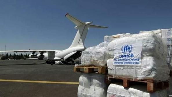 هبوط طائرتين تابعة للامم المتحدة في مطار صنعاء لدعم الحوثيين بالصواعق وتقنيات الاسلحة على شكل مساعدات غذائية .