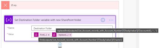 11. Set Destination Folder variable with new SharePoint folder