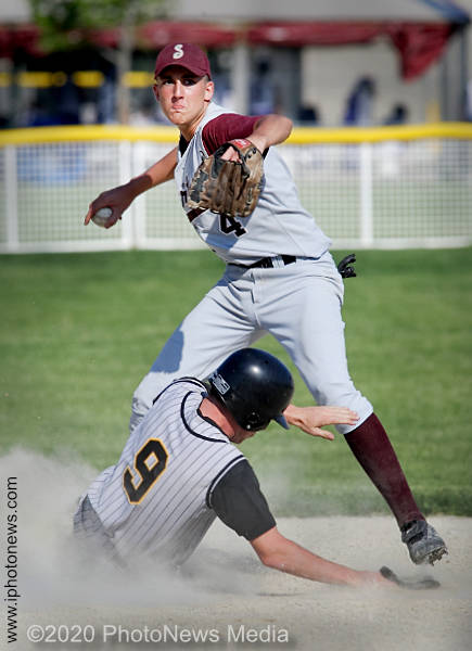 SJO's Kiel Duval tries to turn a double play