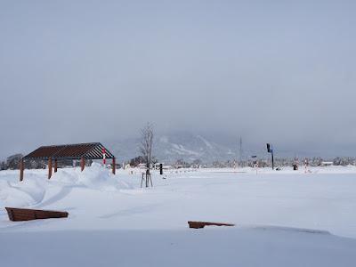 雪の積もった磐梯山
