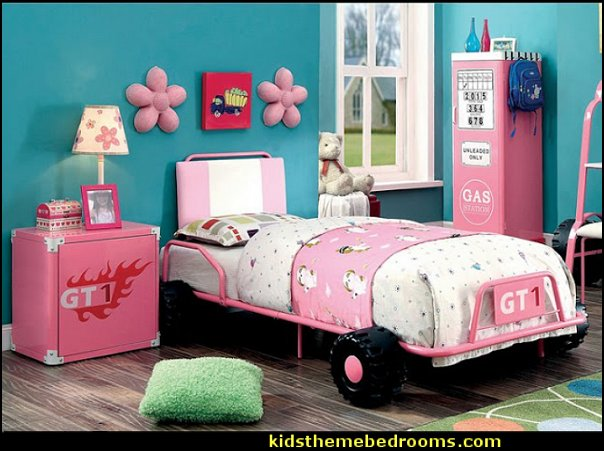 Jessie Metal 2-piece Racing Twin Bed and Nightstand Garage Themed Bedroom Decor girls themed garage bedrooms