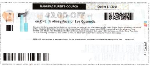 3.00/1 Almay Face or Eye coupon nla *HERE*
