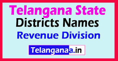 Telangana State 31 Districts Names Revenue Division  List