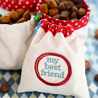 DIY drawstring dog treat bags