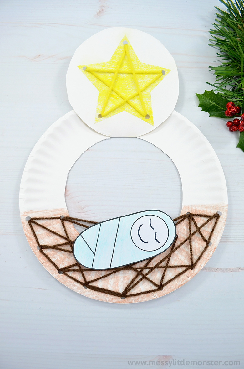 Baby Jesus in a manger. Christmas paper plate crafts for kids.