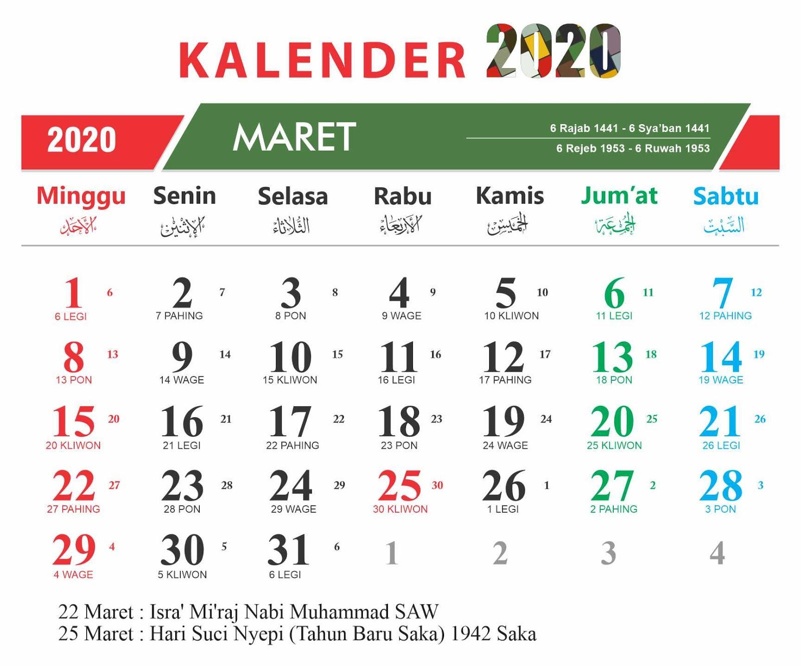 Kalender 2020 12Bulan + Hari Libur Nasional + Cuti Bersama
