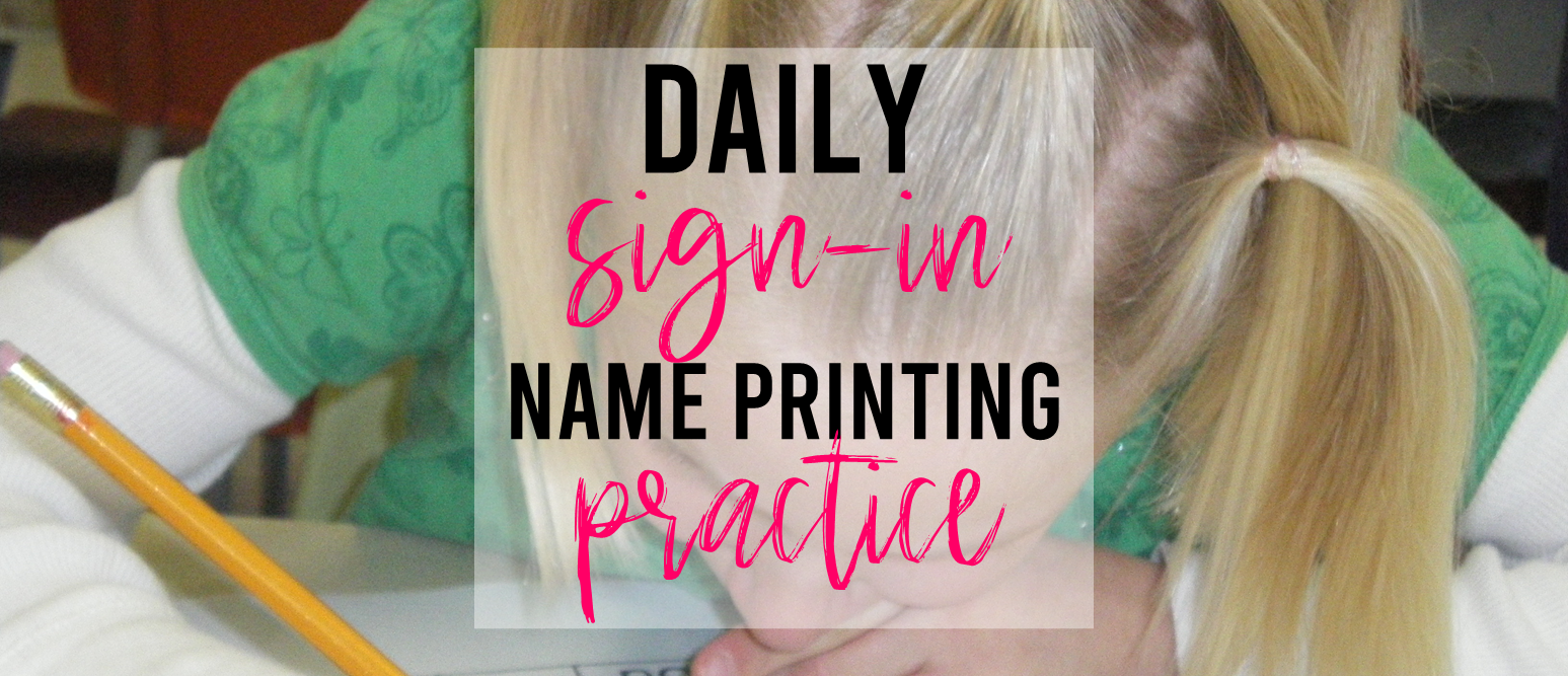 Daily Sign In binder for student practice with writing names in Kindergarten