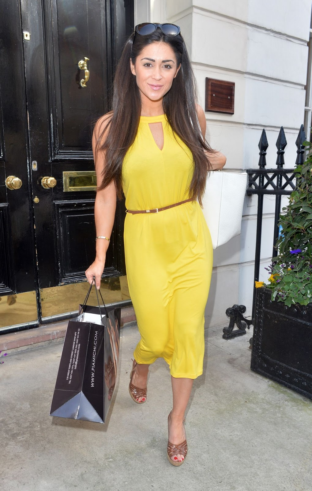 HQ Photos of Casey Batchelor in Yellow dress at Cosmedocs in London