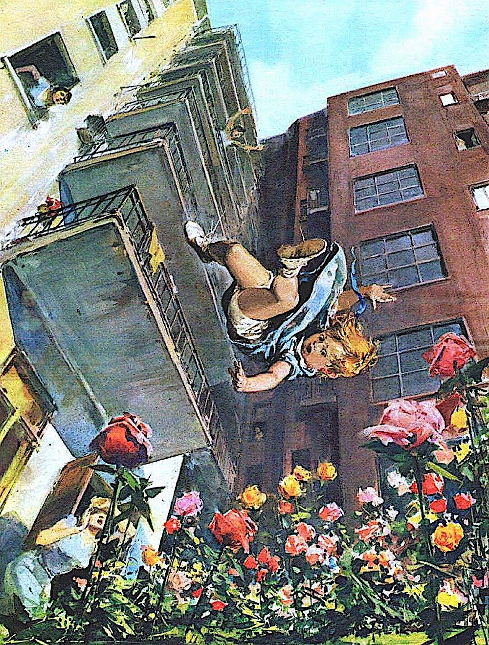 a Walter Molino Illustration of a child falling from a high building