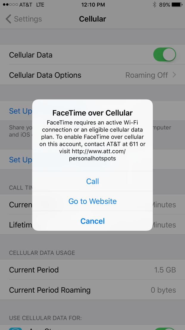 Updated: AT&T Blocking Facetime Over Cellular on the New