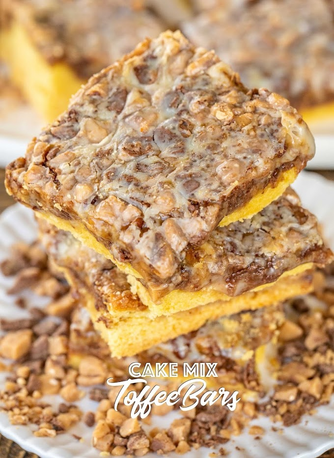CAKE MIX TOFFEE BARS #bars #cake