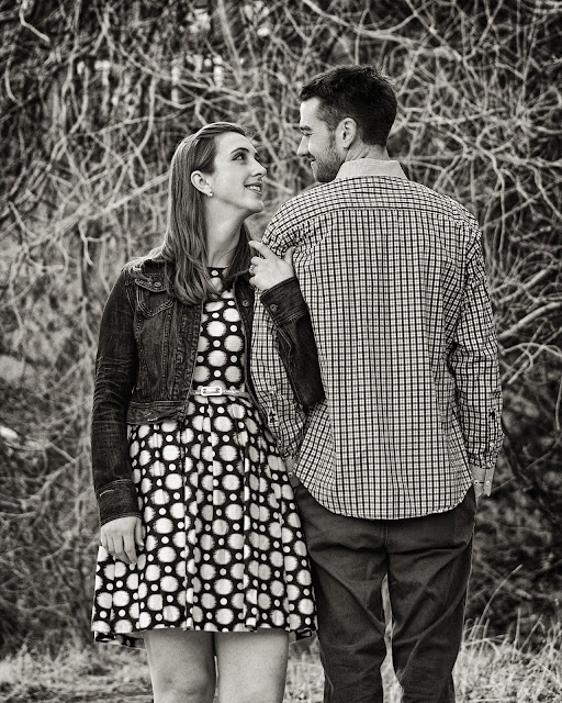 a black and white image of a couple during their engagement session at Eben G Fine Park in Boulder Colorado