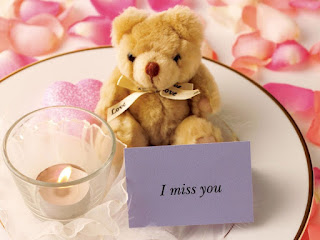 Image of i miss you with teddy bear & candle
