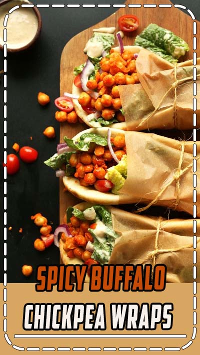 AMAZING Buffalo Chickpea Wraps! Spicy chickpeas, crispy vegetables, soft pita #vegan #recipe #plantbased #spicy #healthy #minimalistbaker
