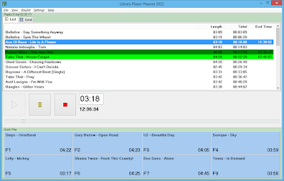 Playout software displaying playlist and Quick Play items