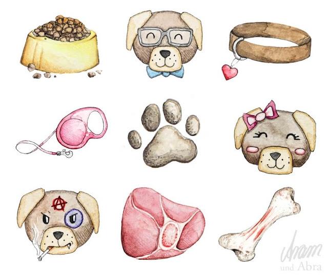 Illustrationen für Hundeblogger, Aquarell und digitale Nachbearbeitung
