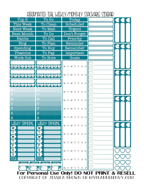 Free Printable Reformatted Weekly/Monthly Stackable Sidebar in Teal from myplannerenvy.com