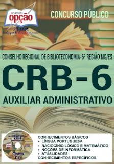 Apostila Concurso CRB6 MG 2016 Auxiliar Administrativo