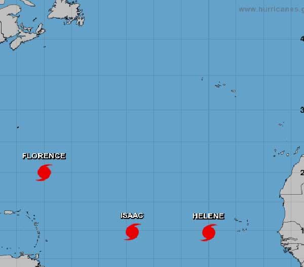 Los huracanes activos en el Atlántico son tres: Huracán Florence, huracán Helene y huracán Isaac