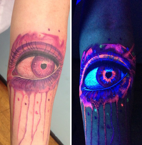 #12. An illuminated eye. - 30 Glow-In-The-Dark Tattoos That'll Make You Turn Out The Lights.