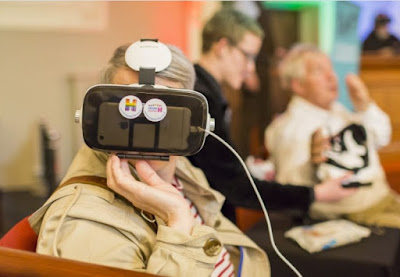 Elderly people using VR technology