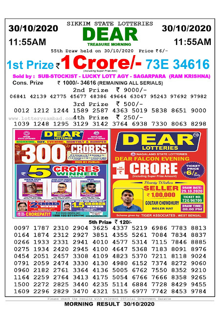 Lottery Sambad 30-10-2020, Lottery Sambad 11.55 am results, Sikkim Lottery Results, Lottery Sambad Today Results Live, Morning results