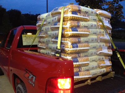 Truck bed full of chicken feed.