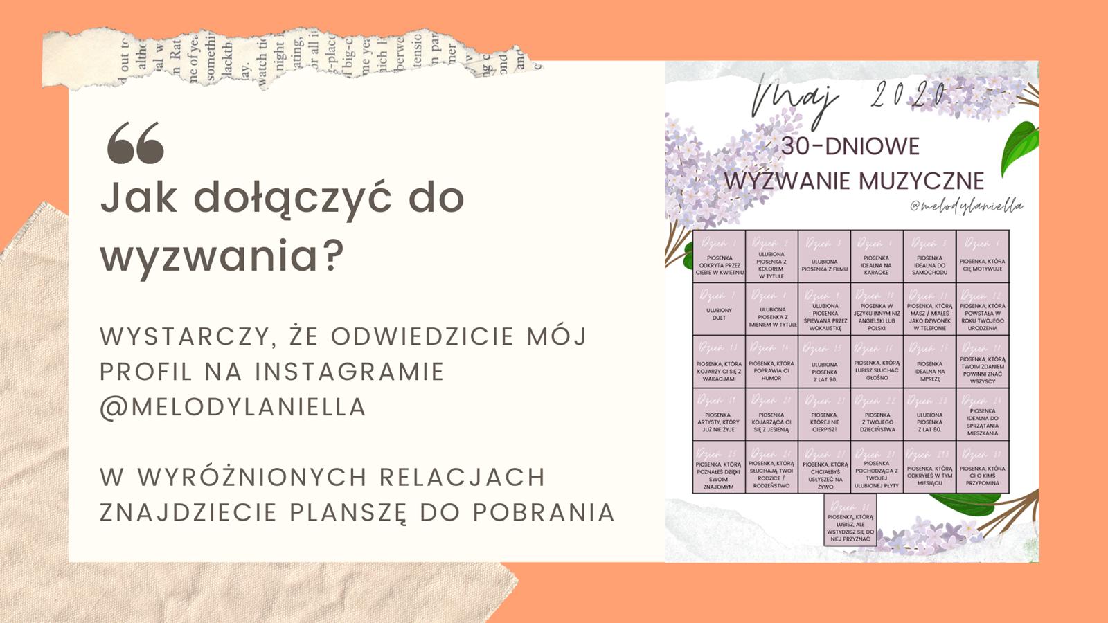 4 darmowy kalendarz do druku jak zrobić 30-dniowe wyzwanie muzyczne na instagramie instastory kalendarz ładny kolorowy maj 2020 do druku darmowy do pobrania kwiaty kobiecy dla dziewczyny