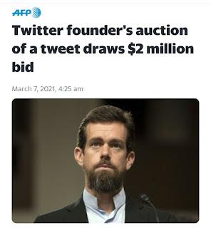 Boss Twitter Jual Cuitan Pertama Seharga $ 2.5 US Dolar melalui Cent