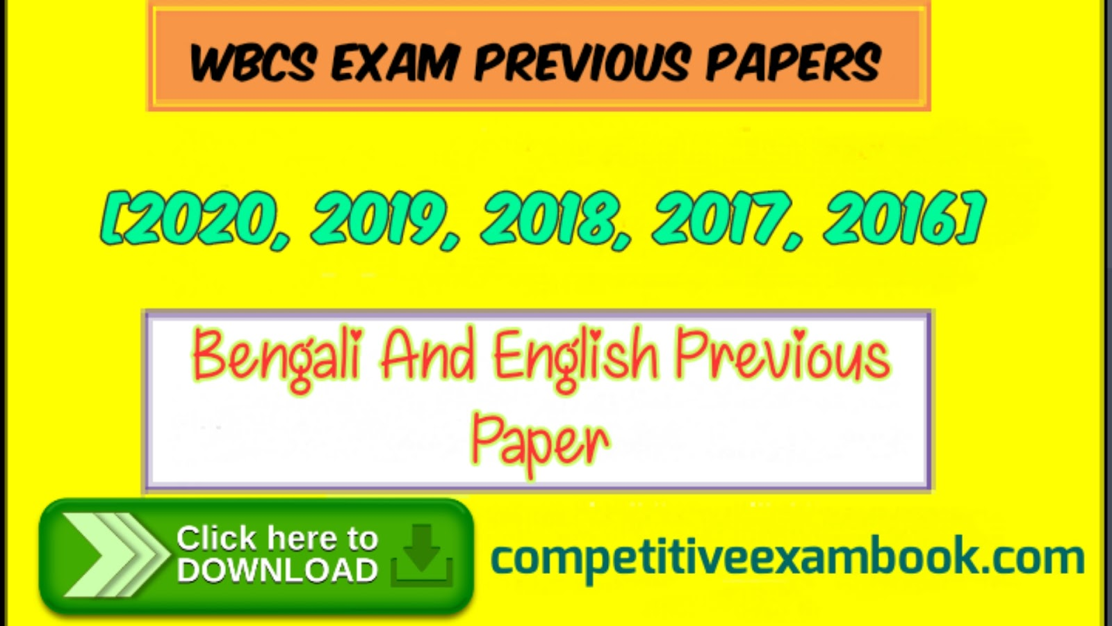 WBCS Question Papers 2020/19/18, Download PDF in Bengali & English