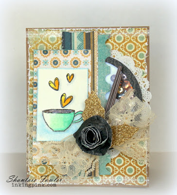 SRM Stickers Blog - Coffee Lovers Blog Hop! - #coffee #card #bloghop #fall #teatime #clearstamps #janesdoodles #doilies #lace #stickerstitches
