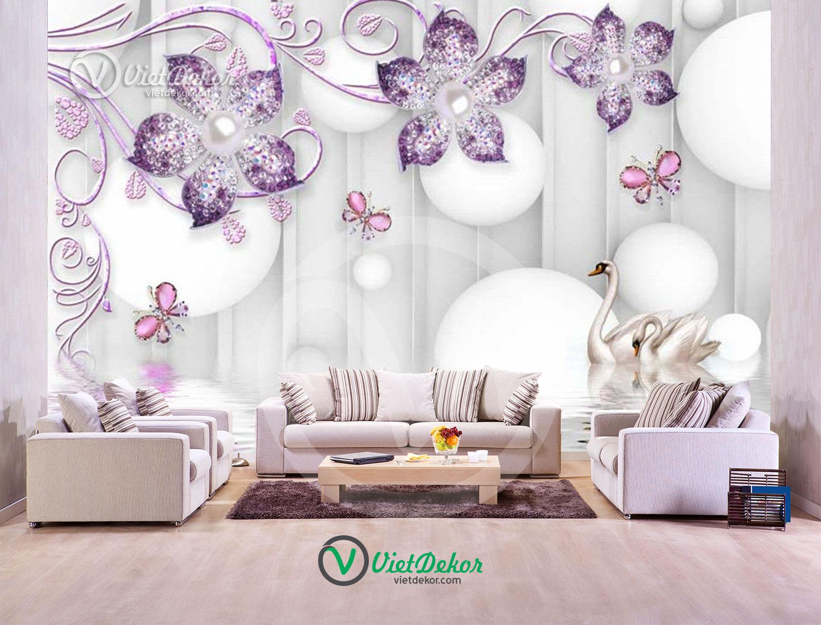 Tranh dán tường 3d hoa bướm ngọc trai