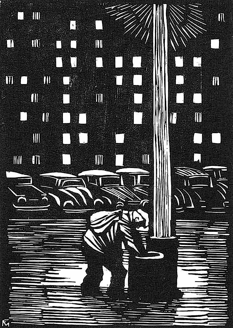 a Conrad Felixmuller print of a homeless man scavenging in a city trash can