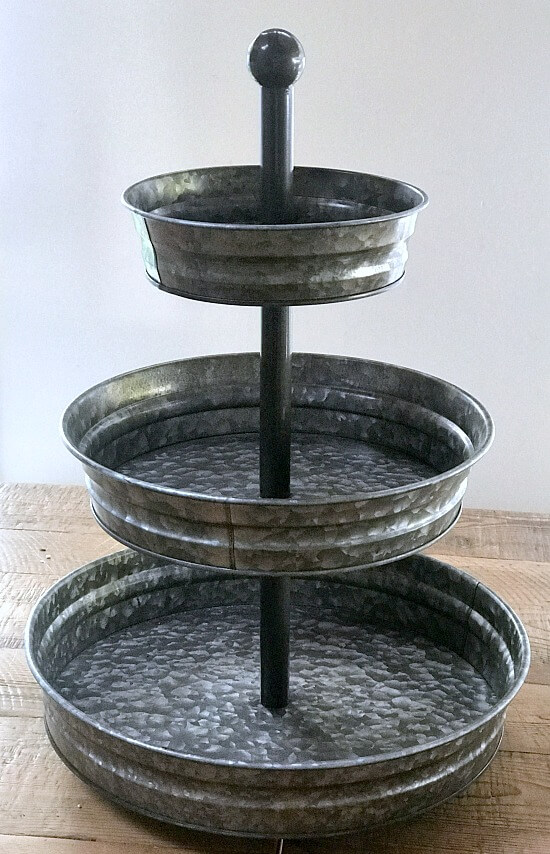 galvanized steel 3 tiered tray decorated for fall