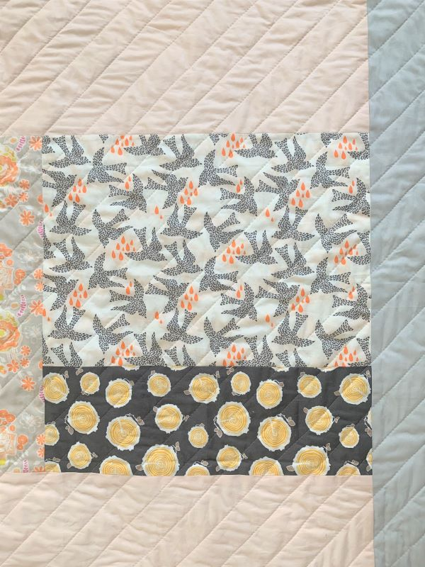 A patchwork of different bee-themed fabrics