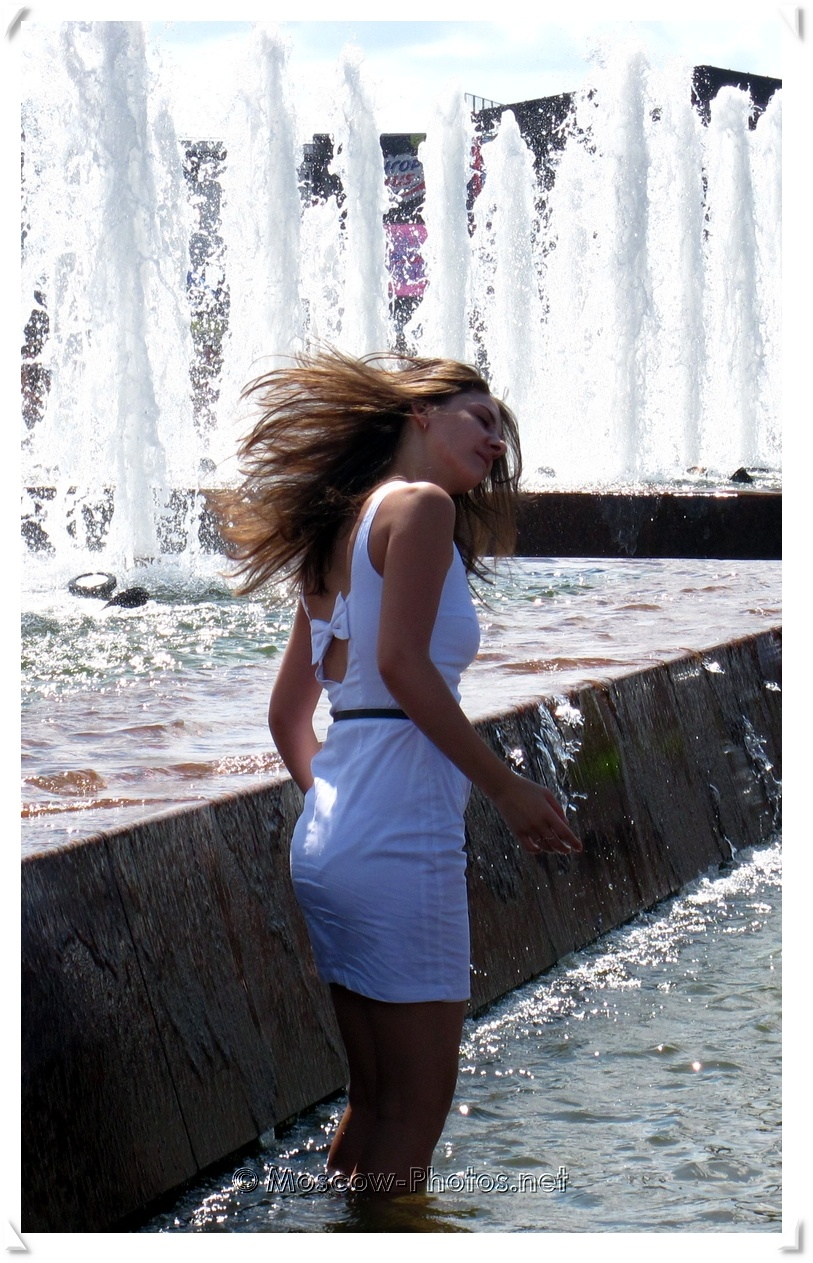 Beautiful Summer Moscow Girl at Fountain